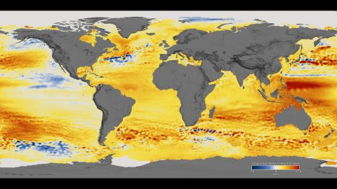 Changes in sea level observed between 1992 and 2014. Orange/red colors represent higher sea levels, while blue colors show where sea levels are lower.