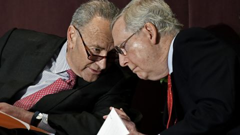 Senate Minority Leader Charles Schumer, D-N.Y., left, leans in to speak to Senate Majority Leader Mitch McConnell, R-Ky., before his speech at the McConnell Center's Distinguished Speaker Series Monday, Feb. 12, 2018, in Louisville, Ky. (AP/Timothy D. Easley)