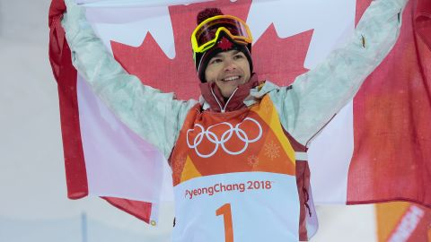 PYEONGCHANG-GUN, SOUTH KOREA - FEBRUARY 12: Mikael Kingsbury of Canada takes 1st place during the Freestyle Skiing Men's Moguls Finals at Pheonix Snow Park on February 12, 2018 in Pyeongchang-gun, South Korea. (Photo by Laurent Salino/Agence Zoom/Getty Images)