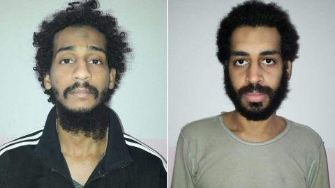 """(COMBO) This combination of pictures created on February 11, 2018 from two handout images provided by the Syrian Democratic Forces (SDF) on February 10, 2018 shows captured British Islamic State (IS) group fighters El Shafee el-Sheikh (L) and Alexanda Kotey (R), posing for mugshots in an undisclosed location. The Syrian Democratic Forces' (SDF) spokesperson Redur Khalil said they had caught Briton Alexanda Amon Kotey in eastern Syria in January as he tried to flee to neighbouring Turkey. Kotey was part of a four-member IS kidnapping cell dubbed """"The Beatles"""" that was notorious for videotaping beheadings. A US defence official announced on February 8 his arrest by the SDF, together with that of fellow Briton El Shafee el-Sheikh. / AFP PHOTO / Syrian Democratic Forces / Handout /  == RESTRICTED TO EDITORIAL USE - MANDATORY CREDIT """"AFP PHOTO / HO / SYRIAN DEMOCRATIC FORCES (SDF) - NO MARKETING NO ADVERTISING CAMPAIGNS - DISTRIBUTED AS A SERVICE TO CLIENTS ==  == RESTRICTED TO EDITORIAL USE - MANDATORY CREDIT """"AFP PHOTO / HO / SYRIAN DEMOCRATIC FORCES (SDF) - NO MARKETING NO ADVERTISING CAMPAIGNS - DISTRIBUTED AS A SERVICE TO CLIENTS == / HANDOUT/AFP/Getty Images"""