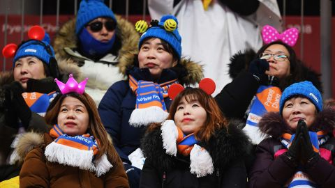 Fans look on at the luge women's singles on day four of the games. 1,045,727 tickets were sold to spectators throughout the games.