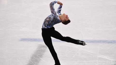 USA's Adam Rippon competes in the figure skating team event men's single skating free skating on February 12, 2018.