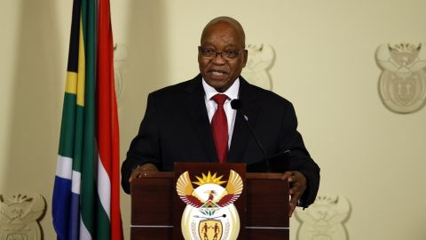 """Zuma <a href=""""https://edition.cnn.com/2018/02/14/africa/jacob-zuma-resigns-as-south-africa-president-intl/index.html"""">announces his resignation </a>during a nationally televised address in February 2018. """"No life should be lost in my name and also the ANC should never be divided in my name,"""" he said. """"I have therefore come to the decision to resign as President of the Republic with immediate effect."""" The ANC had been trying to push Zuma out for months. It dumped him as party president in December 2017, narrowly electing Cyril Ramaphosa over Zuma's preferred successor, his ex-wife and former cabinet minister, Nkosazana Dlamini-Zuma."""