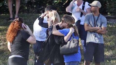 Anxious family members await news of their loved ones.