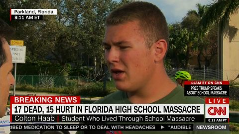Stoneman Douglas High School student Colton Haab took quick action to protect students during the school shooting.