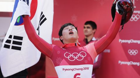 PYEONGCHANG-GUN, SOUTH KOREA - FEBRUARY 16:  Sungbin Yun of Korea celebrates winning the Men's Skeleton at Olympic Sliding Centre on February 16, 2018 in Pyeongchang-gun, South Korea.  (Photo by Richard Heathcote/Getty Images)