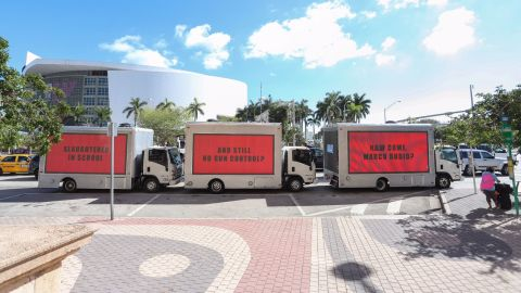 """The billboards calling out Florida Sen. Marco Rubio mimic the ones from the movie, """"Three Billboards Outside Ebbing, Missouri."""""""