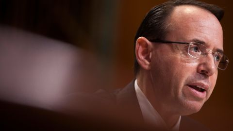 WASHINGTON, DC - JUNE 13: Deputy Attorney General Rod Rosenstein testifies during a Senate Commerce, Justice, Science, and Related Agencies Subcommittee hearing on the Justice Department's proposed FY18 budget  on Capitol Hill on June 13, 2017 in Washington, D.C. (Photo by Zach Gibson/Getty Images)