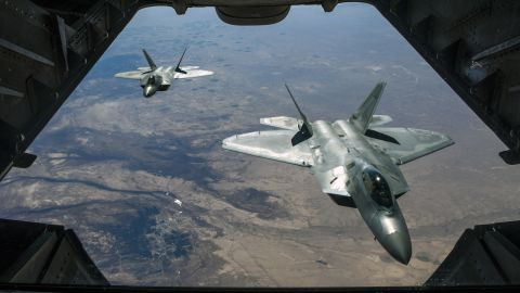 Two U.S. Air Force F-22 Raptors fly above Syria in support of Operation Inherent Resolve, Feb. 2, 2018. The F-22 is an air superiority fighter that incorporates the latest technological advances in reduced observables, avionics, engine performance and aerodynamic design. (U.S. Air National Guard photo by Staff Sgt. Colton Elliott)