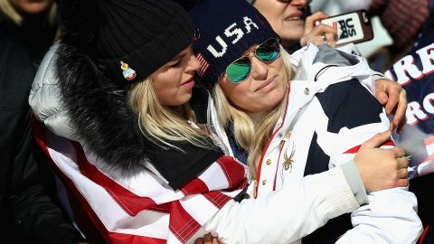 Lindsey Vonn is consoled after Saturday's women's Super G competition.