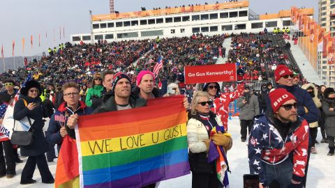 America's Gus Kenworthy made the headlines not for his snowboarding prowess, but for kissing his boyfriend, Mathew Wakes, live on TV. The moment was hailed as a celebration of LGBTQ pride.