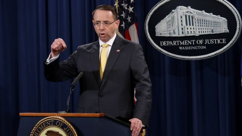 WASHINGTON, DC - FEBRUARY 16:  U.S. Deputy Attorney General Rod Rosenstein announces the indictment of 13 Russian nationals and 3 Russian organizations for meddling in the 2016 U.S. presidential election February 16, 2018 at the Justice Department in Washington, DC. The indictments are the first charges brought by special counsel Robert Mueller while investigating interference in the election.  (Photo by Win McNamee/Getty Images)