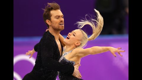 British duo Penny Coomes and Nicholas Buckland compete in the ice dancing.