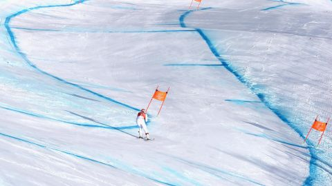 One of the favorites for the women's downhill, Vonn focused on her line rather than speed in Monday's training.