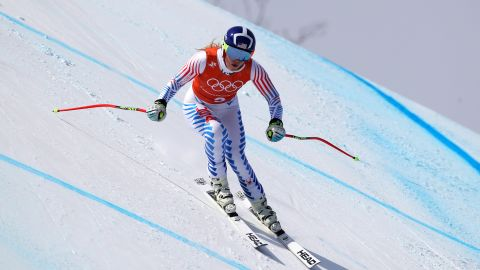 Lindsey Vonn training for the women's downhill which takes place on Wednesday.