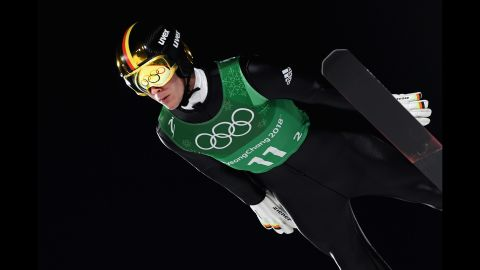 German ski jumper Stephan Leyhe competes in the team event. Germany won the silver. Norway finished in first.