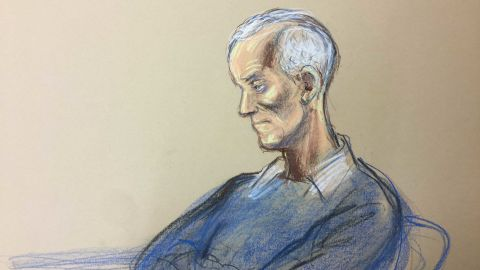 Liverpool, ENGLAND - 19th February 2018. Barry Bennell is shown in a court sketch during his appearance for sentencing at Liverpool Crown Court.