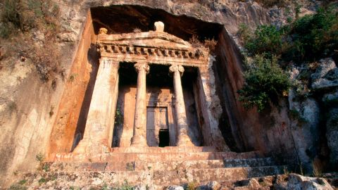 """The final resting place of """"Amyntas, son of Hermagios"""" dates from the mid-4th century BC. Cut into the hillside overlooking the modern city of Fethiye, close to the Aegean Sea, it was built by the Lycians of Telmessos, a city-state that would go on to be conquered by Alexander the Great."""