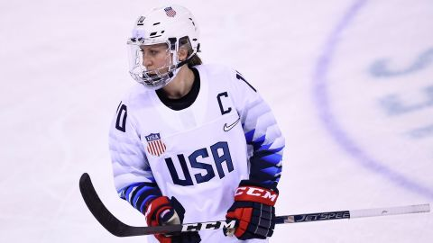 USA's Meghan Duggan looks on in the women's preliminary round ice hockey match between the US and Canada during the Pyeongchang 2018 Winter Olympic Games at the Kwandong Hockey Centre in Gangneung on February 15, 2018.   / AFP PHOTO / Brendan Smialowski        (Photo credit should read BRENDAN SMIALOWSKI/AFP/Getty Images)