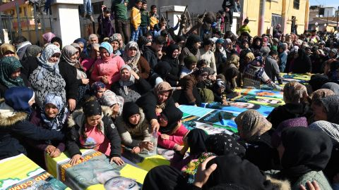Syrian Kurds mourn in the northern town of Afrin during the funeral of YPG fighters on Sunday.
