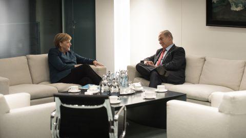 Netanyahu and German Chancellor Angela Merkel talk in Berlin in October 2015.