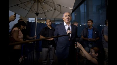 Netanyahu speaks to the press in Tel Aviv, Israel, in June 2016. A day earlier, two attackers identified as Palestinians opened fire at a popular food and shopping complex near the Israeli Defense Ministry in Tel Aviv, killing four Israelis and sending other patrons scrambling to safety.