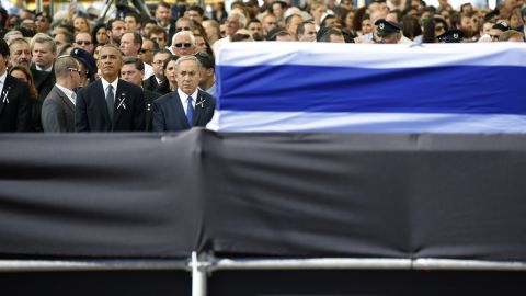 Netanyahu stands next to US President Barack Obama as they attend the funeral of former Israeli President Shimon Peres in September 2016.