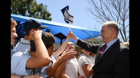 Netanyahu visits Moriah College in Sydney in February 2017. It was the first time an Israeli prime minister had visited Australia.