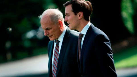 Senior Advisor Jared Kushner (R) and newly appointed White House Chief of Staff John Kelly follow US President Donald Trump to Marine One on the South Lawn of the White House August 3, 2017 in Washington, DC. Special counsel Robert Mueller has impaneled a grand jury to investigate Russia's interference with the 2016 presidential election, The Wall Street Journal reported on August 3 -- an important step toward potential criminal charges. / AFP PHOTO / Brendan Smialowski        (Photo credit should read BRENDAN SMIALOWSKI/AFP/Getty Images)