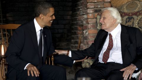 US President Barack Obama meets with Graham at his Montreat home in 2010.