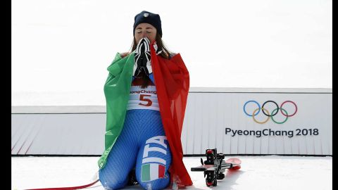 It was the Italian, Sofia Goggia -- who is currently leading the World Cup downhill standings -- that beat Vonn to gold. The 25-year-old became the first Italian to win gold in the women's downhill.