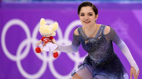 Evgenia Medvedeva competes during the Women's Single Skating Short Program on day twelve of the PyeongChang 2018 Winter Olympic Games.
