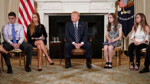 US President Donald Trump takes part in a listening session on gun violence with teachers and students in the State Dining Room of the White House on February 21, 2018. Trump promised more stringent background checks on gun owners Wednesday as he hosted a group of students who survived last week's mass shooting at a Florida high school. / AFP PHOTO / Mandel NGAN        (Photo credit should read MANDEL NGAN/AFP/Getty Images)