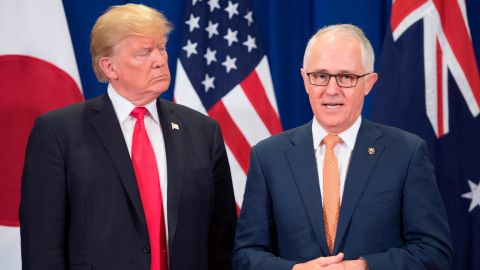US President Donald Trump (R) listens to Australia Prime Minister Malcolm Turnbull during the opening ceremony of the 31st Association of South East Asian Nations (ASEAN) Summit in Manila on November 13, 2017. World leaders are in the Philippines' capital for two days of summits.  / AFP PHOTO / JIM WATSON        (Photo credit should read JIM WATSON/AFP/Getty Images)