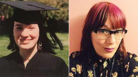 Kayte Terry, as a student at Simon's Rock in 1994 (on left) and now as an artist in Philadelphia (on right)