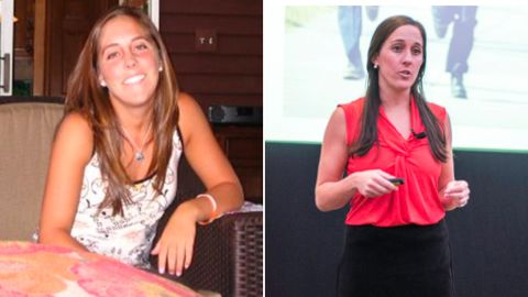 Lisa Hamp, as a student at Virginia Tech in 2007 (on left) and speaking to school resource officers about safety in 2017 (on right)
