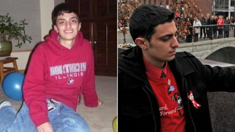 Patrick Korellis, as a student at NIU in 2008 (on left) and placing a rose on a victim's stone memorial at NIU last week, on the 10th anniversary of the shooting (on right)