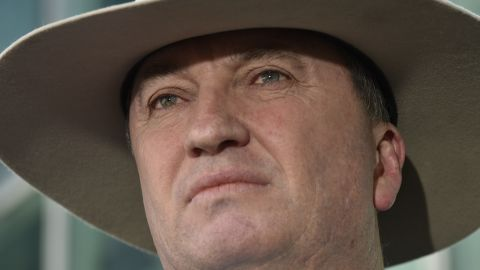 Then-Deputy Prime Minister Barnaby Joyce speaks to the press on February 16, 2018 in Canberra, Australia.