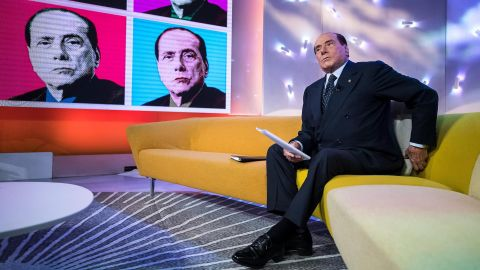 The political deal-maker, now 81, attends a La7 TV program in Rome in February 2018. Italy will hold general elections on March 4, and Berlusconi, as leader of the Forza Italia party, has brokered a right-wing alliance with the neo-fascist Brothers of Italy party and the anti-immigrant Northern League.