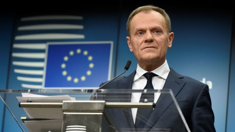 European Council Council Donald Tusk holds a joint press conference with the European Commission President on February 23, 2018. (JOHN THYS/AFP/Getty Images)