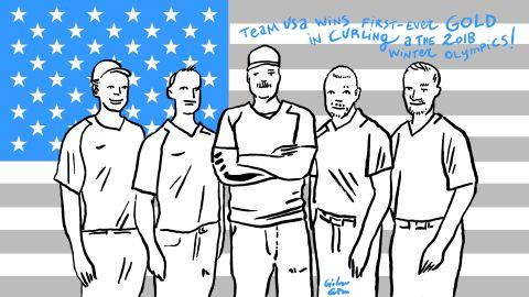 Team USA wins first men's curling gold.