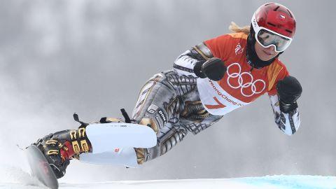 Ester Ledecka  competing in the giant slalom elimination run.