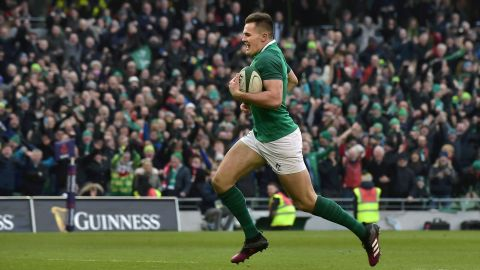 A thrilling encounter at Dublin's Aviva Stadium saw Ireland beat Wales 37-27. Winger Jacob Stockdale intercepted a Welsh pass to score the decisive try -- his second of the game -- in the closing stages.