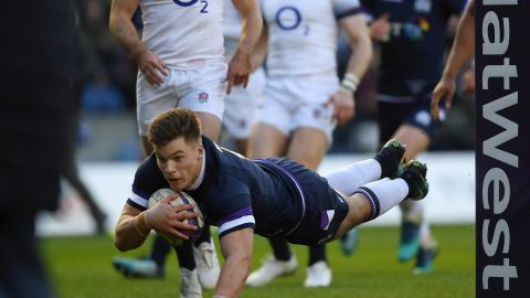 Center Huw Jones bagged a brace. The second was his tenth in 14 internationals.