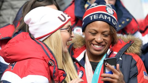 Ivanka Trump talks to US athlete Lauren Gibbs as they attend the four-man bobsled event. Gibbs won silver in the two-woman bobsled earlier in these Games.
