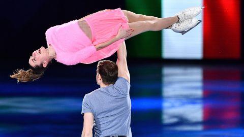 Italian figure skaters Valentina Marchei and Ondrej Hotarek perform in the gala exhibition.