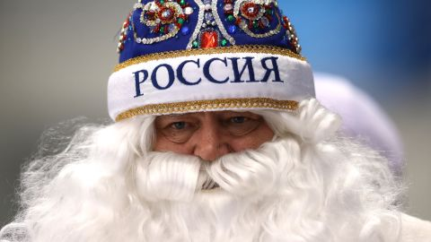 A hockey fan shows his support for Russia.