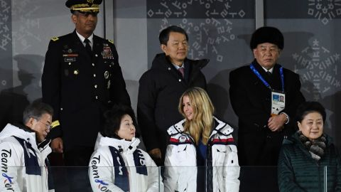 South Korea's President Moon Jae-in (left), his wife Kim Jung-sook and US President Donald Trump's daughter Ivanka.