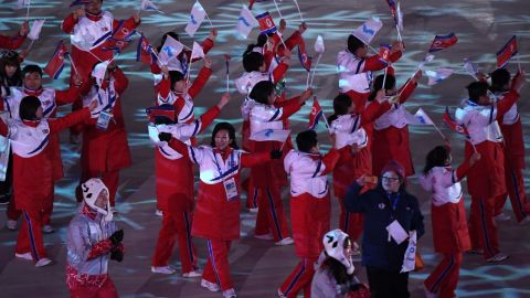 The unified Korean team enter the stadium.