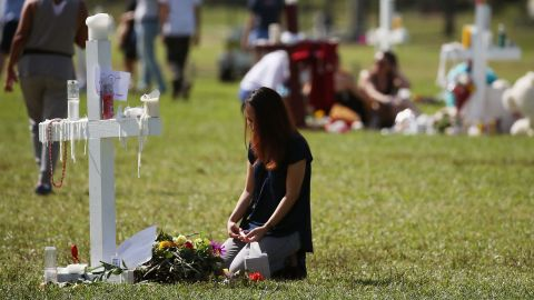 A temporary memorial at Pine Trails Park in Parkland, Florida, has become a space for public mourning and healing.